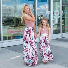 Одинаковая семейная одежда наряды для мамы платье и дочки длинные