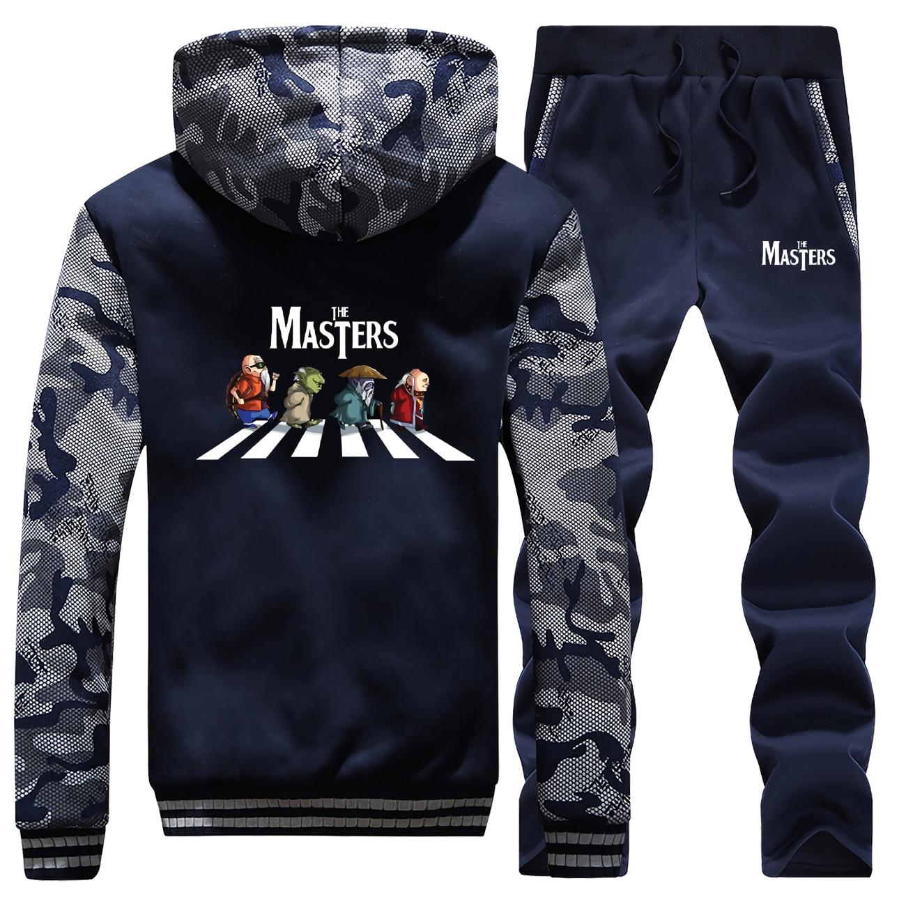 The Masters Print Coat Men Thick Fleece Hoodies Funny Camo Japanese Streetwear Men's Sweatshirt+Pants 2 Piece Sets Winter Jacket