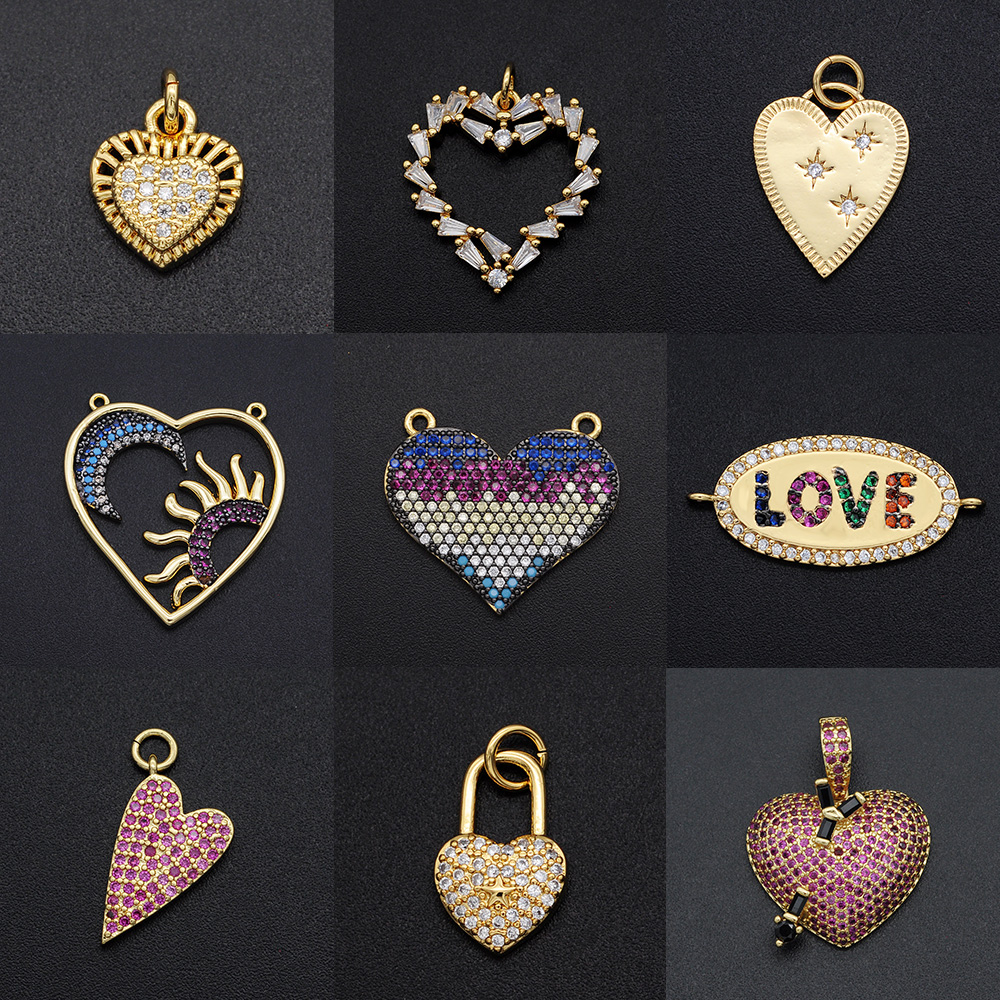 Подвески Vni и Mia с кубическим цирконием в форме сердца, оптовая продажа, подвеска в виде ключа с замком, Соединитель с любовью из циркония для ...