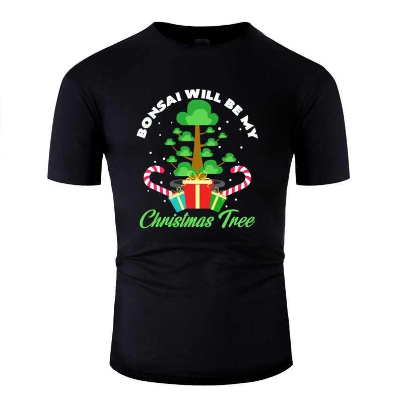 Принт бонсай как Рождественская елка. Рождественский подарок идея футболка