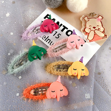 Korean Cartoon Elephant Animal Cute Kids Children Girls Fall Winter BB Hairpins Hair clips Head wear Hair Accessories-SWC5-W5 цена и фото