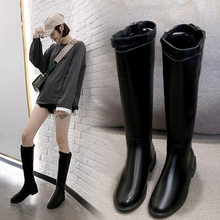 Autumn Boots Zipper Brand Women's Shoes Sexy Thigh High Heels High Sexy Round Toe Bootee Woman 2019 Leather Booties Fashion Med(China)