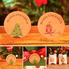60/120PC Merry Christmas тема Уплотнительная наклейка DIY подарки отправлено украшение в виде хлопьев снега Упаковка Этикетка для дома, офиса, школы