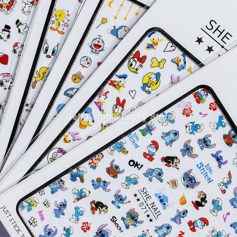 2PCS/lot adhesive cartoon nail sticker decals for nail art tips decorations manicure fake nails accessoires anime stickers