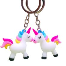 2019 New Fashion Cartoon Colorful Unicorns Key Chain Doll Key Ring for Women Girls Bag Pendant Figure Charms Key Chains Jewelry(China)