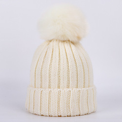 Real Natural Fox Fur Pompoms Ball Skullies Beanies Winter Hats For Women Knitting Cap Warm Beanie Casual Gorros Knitted