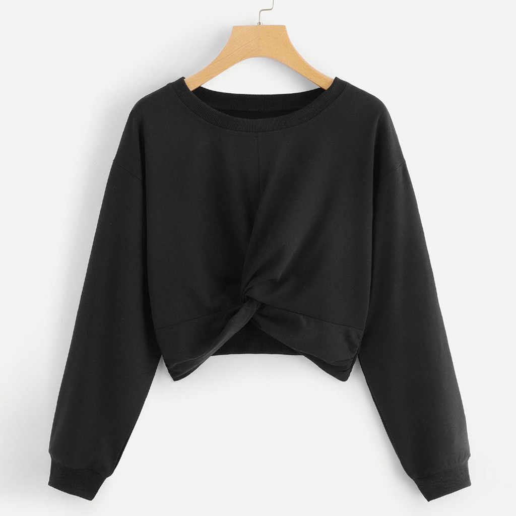 Feitong Female Autumn Winter Sweatshirt Women's O-Neck Pure Color Hatless Long Sleeves Tops Pullover Sweatshirt Blouse Feminino