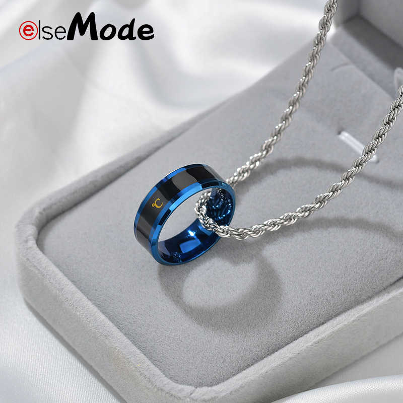 ELSEMODE טיטניום פלדה טמפרטורת מדידה טבעת עבור נשים Mens מגניב נישואים טבעות אנל Masculino מאהב מתנה