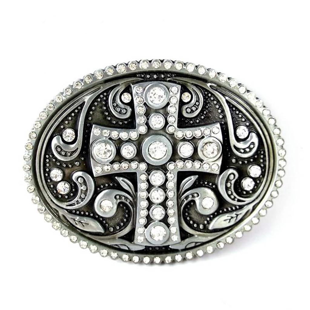 Classic Cross Metal Crystal Rhinetone Belt Buckle Western Cowboy Novelty Accessories