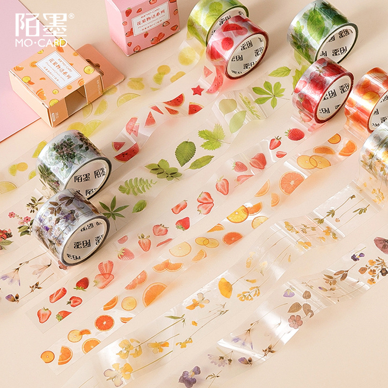 1Roll Fruit And Leaves Series PET Masking Tape DIY Ablum Diary Scrapbooking Label Adhesive Tape Sticker
