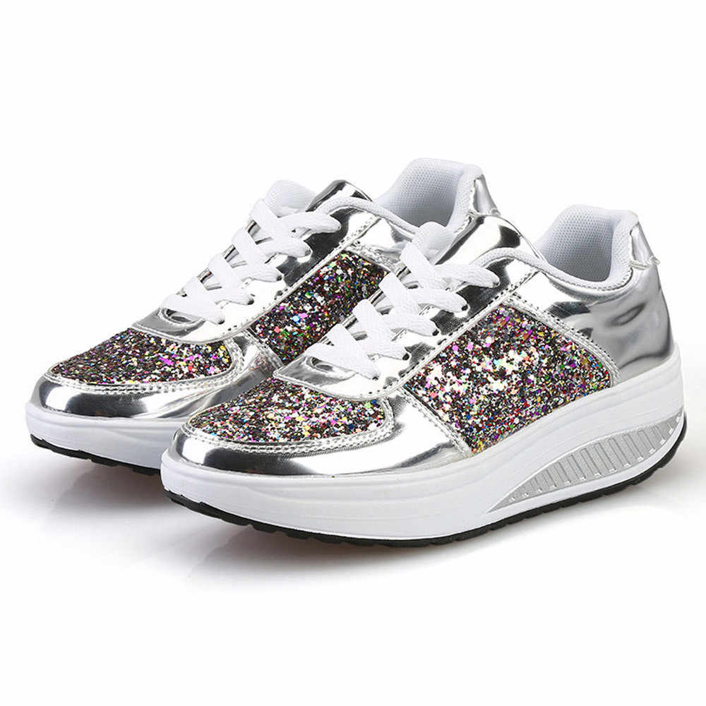 KANCOOLD Bling Shiny Sequins Women Shoes Platform Wedges Shoes Fashion Shake Sneakers Fashion Glitter Sport Shoes for Woman