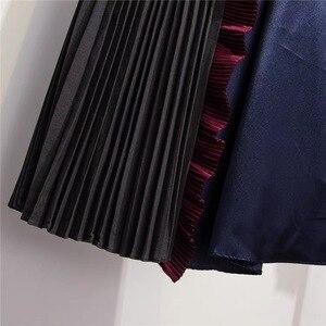 Image 4 - Женская юбка с оборками Marwin, зимняя Мягкая юбка контрастных цветов в стиле ретро, до середины икры, в европейском стиле, на Рождество