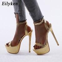 Eilyken mode or Serpentine cheville boucle sangle femmes plate-forme talons hauts été nouvelles sandales fête mariage Stiletto chaussures