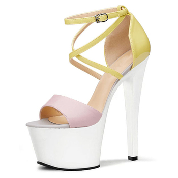 Sexy fish mouth Roman hollowed-out bag heel sandals super high heels 20cm high club sexy dress women's shoes