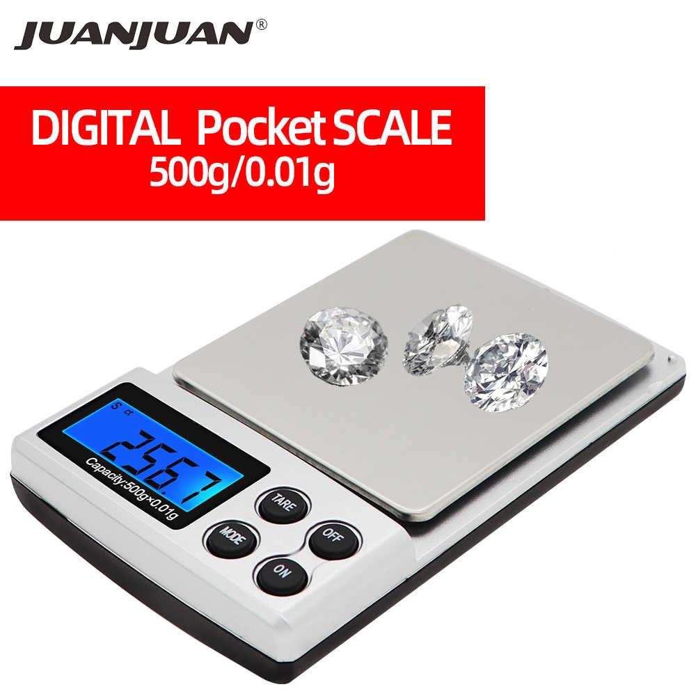 500g x 0.01g Mini waga cyfrowa elektroniczna kuchnia gram biżuteria diamond Balance narzędzie do ważenia z podświetleniem 90% taniej