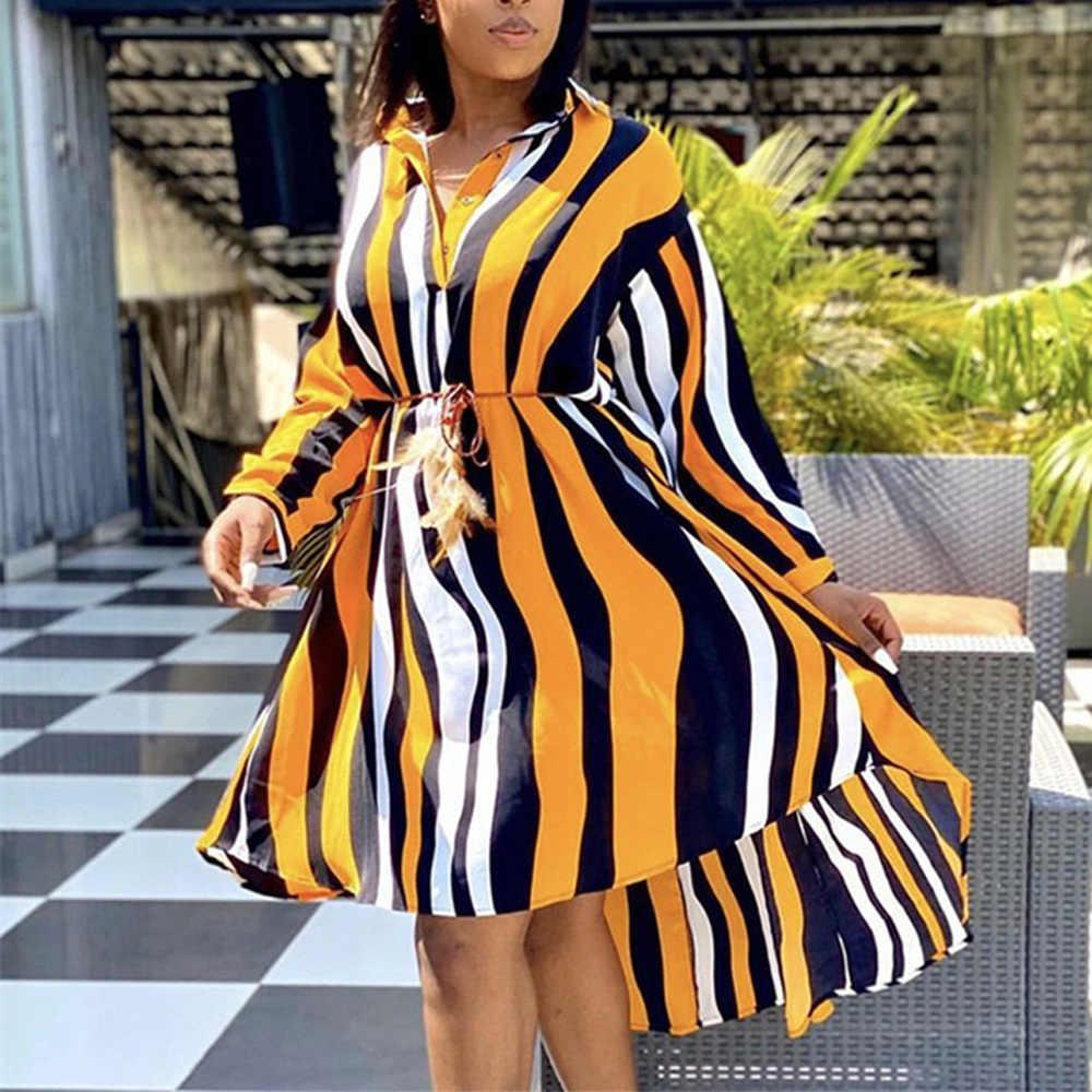 Mode Gestreiften Kleid Fur Frauen Striped Print Drehen Unten Kragen Einreiher Langarm Asymmetrische Elegante Kleider Midi Neue Kleider Aliexpress