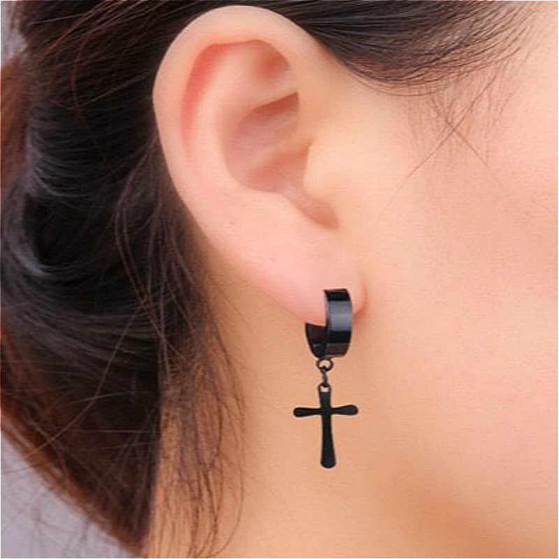 Nowe męskie kolczyki ze stali nierdzewnej Drop Dangle czarny/srebrny kolor krzyż Gothic Punk Rock Style biżuteria