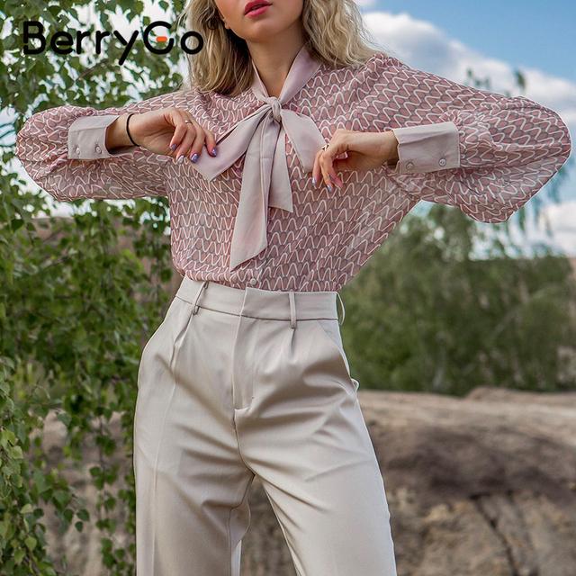 BerryGo Casual geometric long sleeve blouse shirt 2020 Summer spring  women blouses Elegant pink work wear tie neck female top