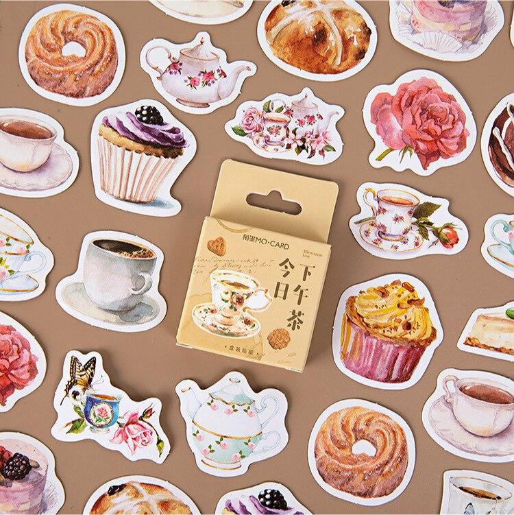 Mohamm 45 шт дневные чайные стикеры книги Скрапбукинг Сделай Сам бумажные наклейки хлопья стационарные офисные аксессуары товары для рукодели...
