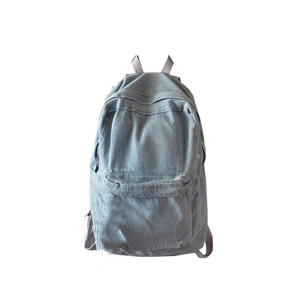 Ladies Casual Backpack Unisex Retro Backpack Denim Travel Backpack Bag Schoolbag Rucksack Large Capacity School Backpack