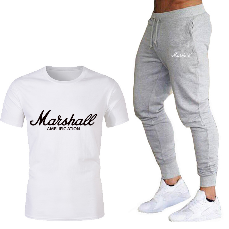 2020 Men's Suit T-shirt + Pants Two-piece Casual Sportswear Letter Printing Suit Track And Field Sportswear Fitness Pants