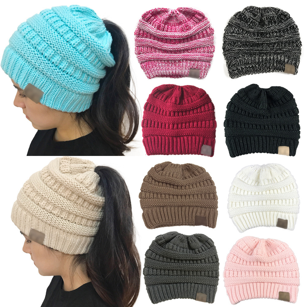 Ponytail   Beanie   Women Stretch Knitted Crochet   Beanies   Winter Hats For Women Hats Cap Warm Lady Messy Bun Wholesale