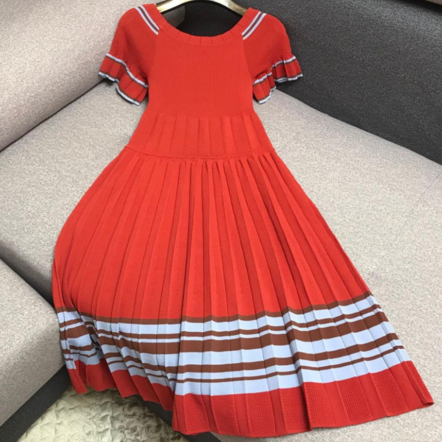 2019 autumn Ice silk knitted dress women hit color striped short sleeves Slim high waist pleated dress