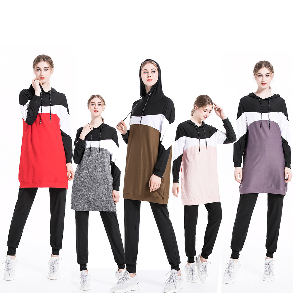Muslim Sportswear Women Muslimah Islamic Sports Wear Long Sleeve Middle Eastern Arab Cotton Tracksuit Clothes Suit Set Plus Size