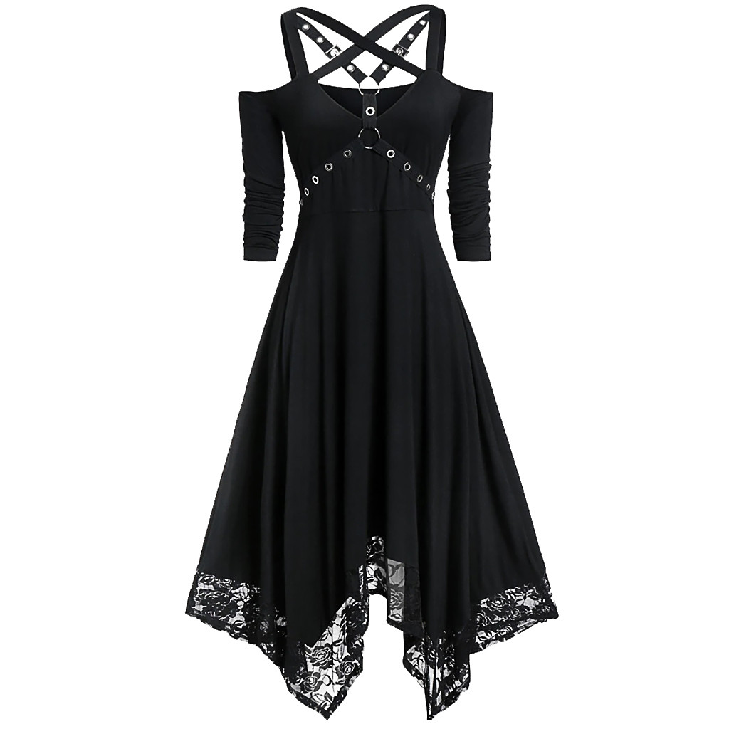 Gothic Dress Women Black Goth Dress Off Shoulder Dress Lace Patchwork Punk Rock Cross Strap Plus Size Sexy Vintage Midi Dress