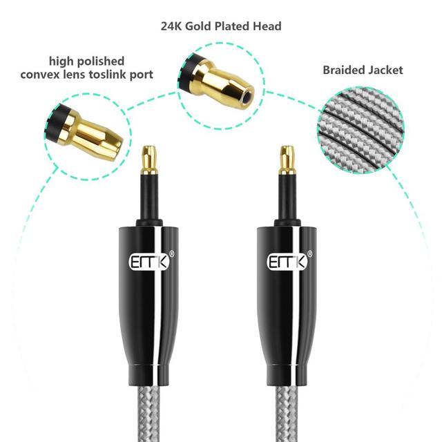 EMK Mini Toslink vers Mini Toslink câble 3.5mm SPDIF câble toslink 3.5 à 3.5 câble Audio optique pour Macbook DVD 3m 5m 8m 10m 15m