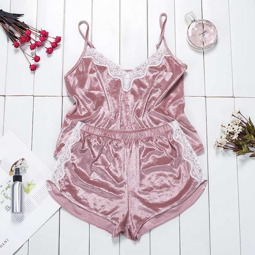 Suphis Patchwork Cami Top And Lace Shorts Pajama Set Women Sexy Sleepwear Velvet 2020 Casual Spring Summer Sleeveless Pj Set