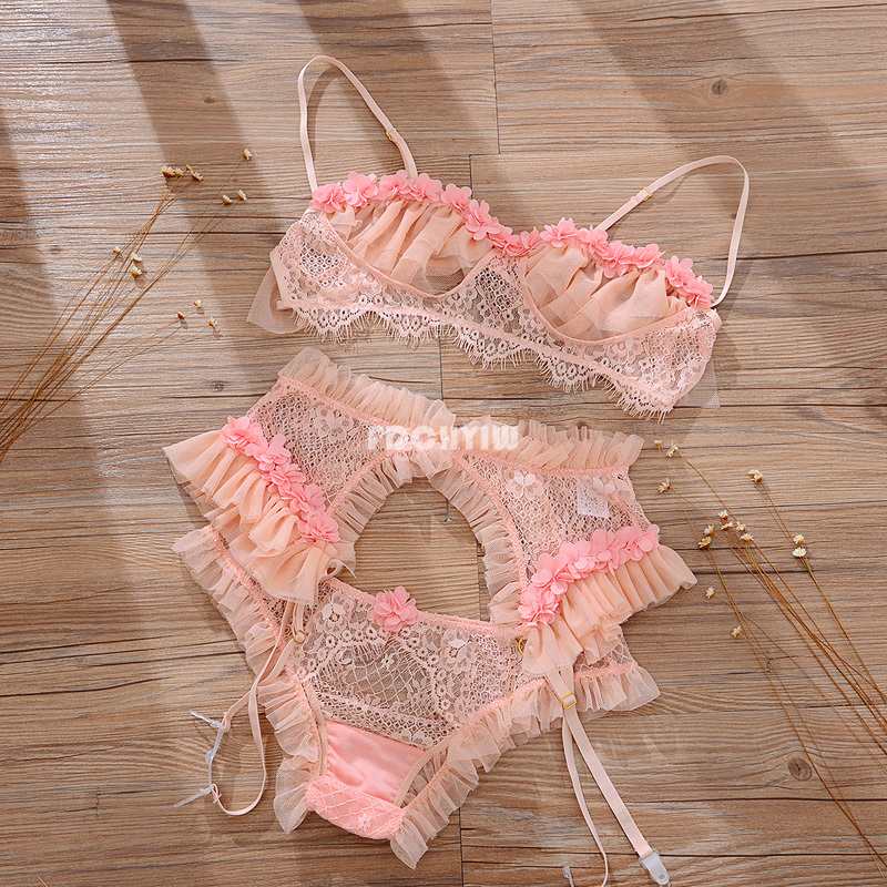 Image 4 - French Sexy Lingerie Lace Ruffles Wire Free Bra and Panty with Garter Underwear Set Temptation See Through Ultra Thin Bra SetBra & Brief Sets   -