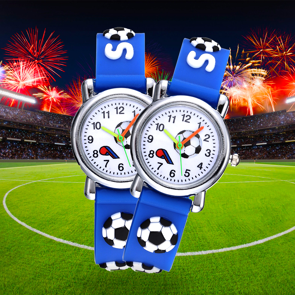 Football Silicone Kids Watches Unique Design Cartoon Ball Wristwatch Boy Quartz Montre Enfant Children Birthdays Gift Reloj Niño