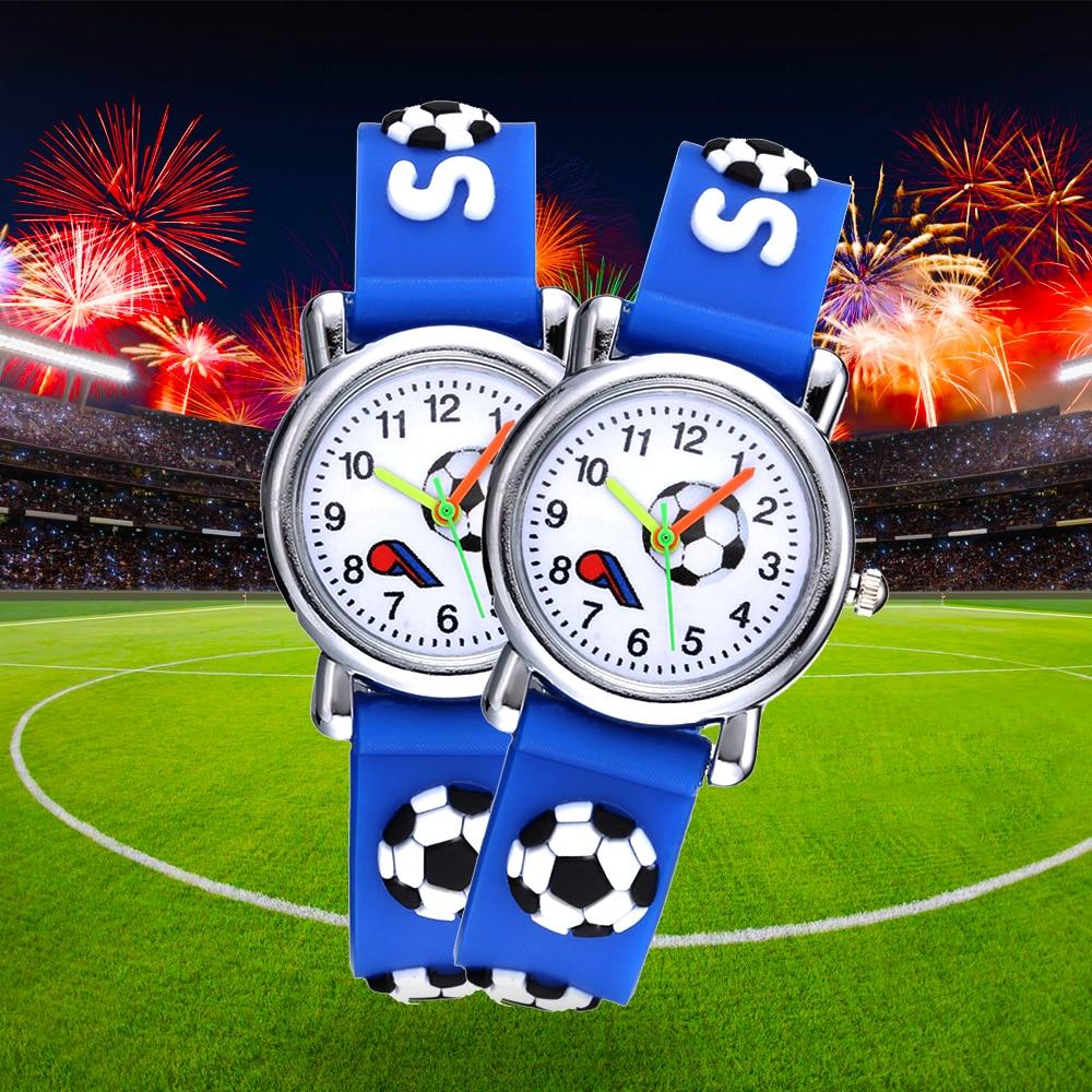 Football Silicone Kids Watches Unique Design Cartoon Ball Wristwatch Boy Quartz Montre Enfant Children Birthdays Gift Reloj Niño