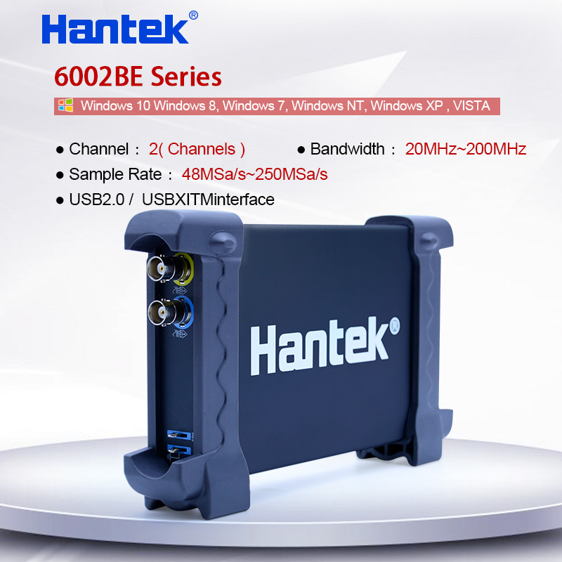 Digital USB Oscilloscope PC Portable oscilloscope 2 Channel 50-200MHz150-250MSa/s Sample Rate Hantek 6052BE/6082BE/6102BE/6212BE image