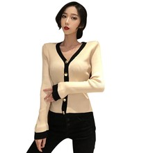 Women's Casual Button Down Long Sleeve Color Block V Neck Knitted Coat Cardigan Knitwear Flare Sleeve Single Breasted button up v neck flat knitted cardigan