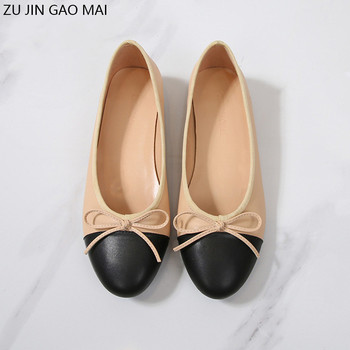 Bow Low Heels Shoes Woman Basic Two Color Splicing Leather Bow Ballet Work Shoes Large Size Classic Tweed Cloth Women Shoes Pump 2018 women shoes black work super high heels shoes woman sweet bow single shoes big size 32 43 46 47 leather shoes red bottom