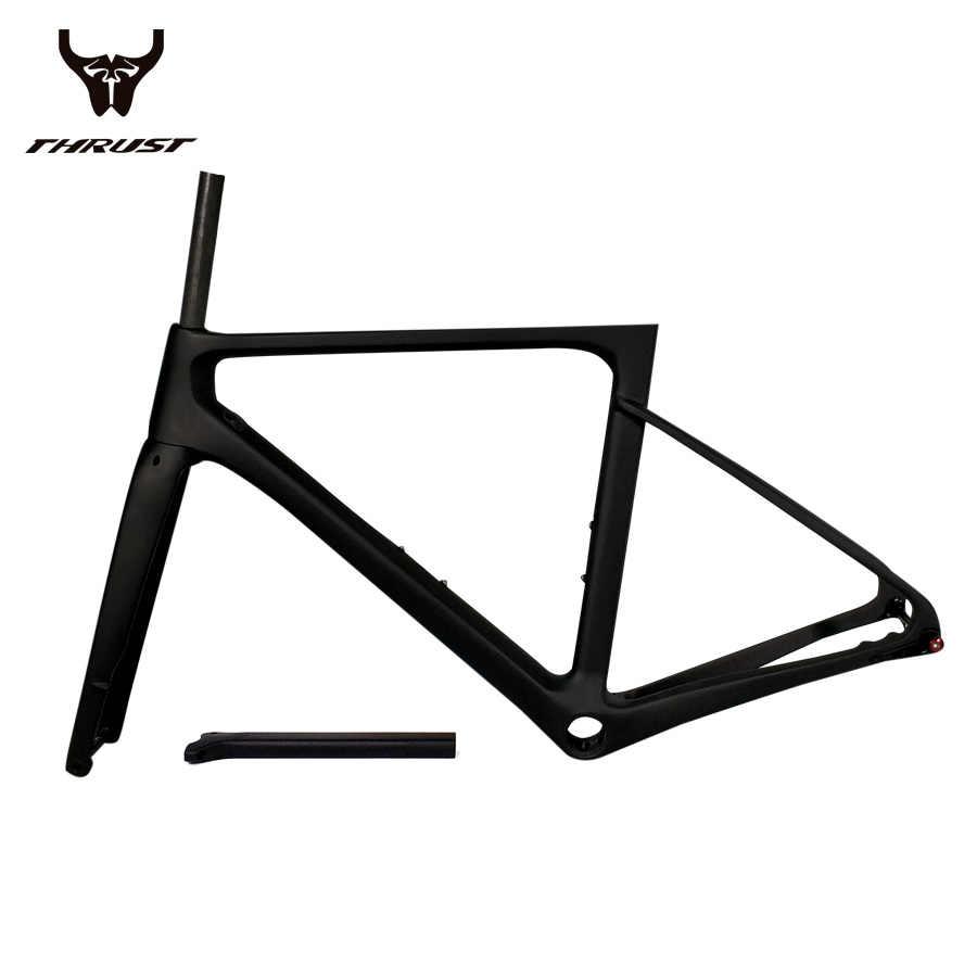 Karbon çerçeve disk fren yol bisiklet şasisi itme 2019 yarış bisiklet iskeleti karbon Thru aks arka attırıcı 142x12 ön 100x 12mm