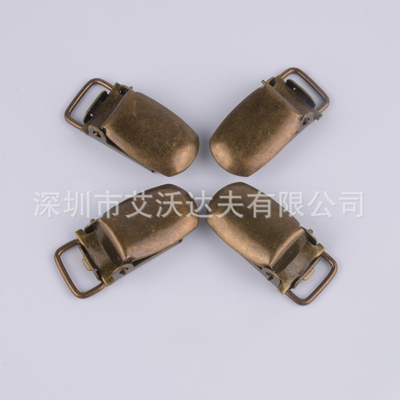 Pacifier Clip Manufacturers Direct Selling Bronze With Plastic Duckbill Clip Children Strap Buckle Metal Adjustment Buckle