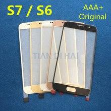 1 قطعة الجبهة الخارجي زجاج عدسة الشاشة لسامسونج غالاكسي S7 G930 G930F S6 G920 G920F اللمس استبدال لوحة الشاشة