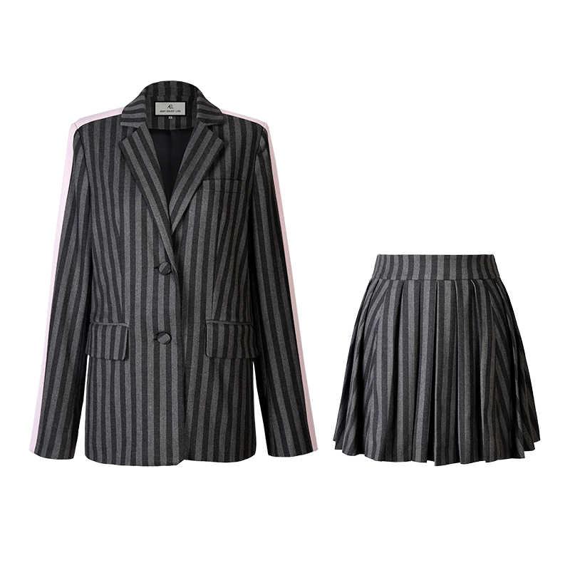 AEL 秋冬長袖ブレザー女性ジャケットコート女性生き抜くチェック柄ショートスカートスーツ女性 2 個セット女性セット