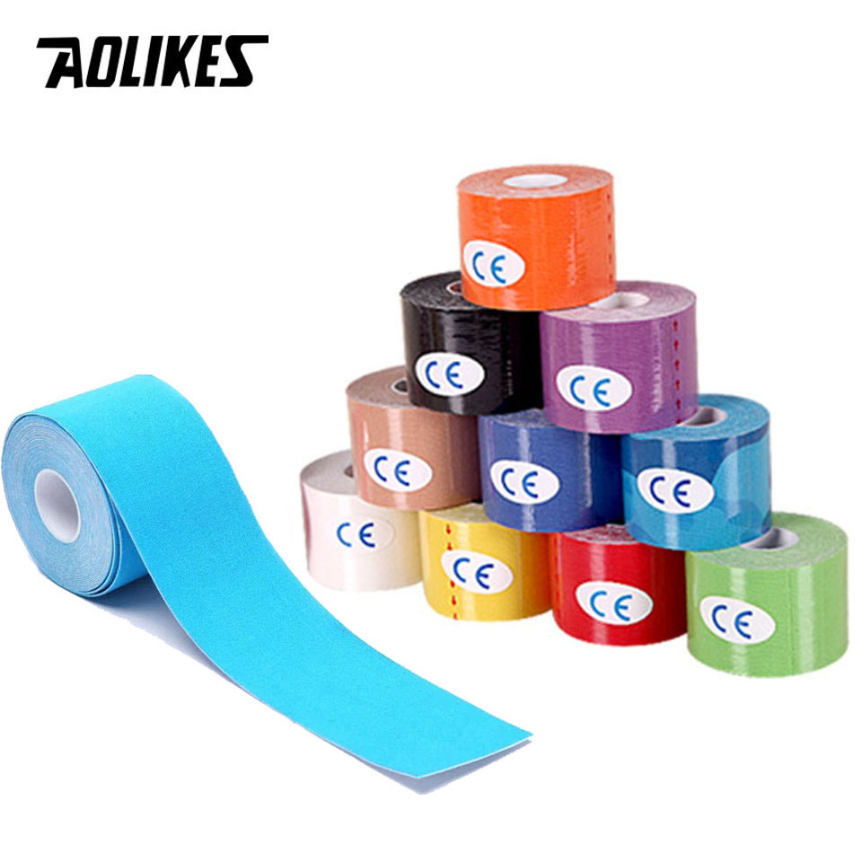 AOLIKES 2 taille kinésiologie bande respirante imperméable à leau athlétique récupération sport bande Fitness Tennis genou Muscle soulagement de la douleur