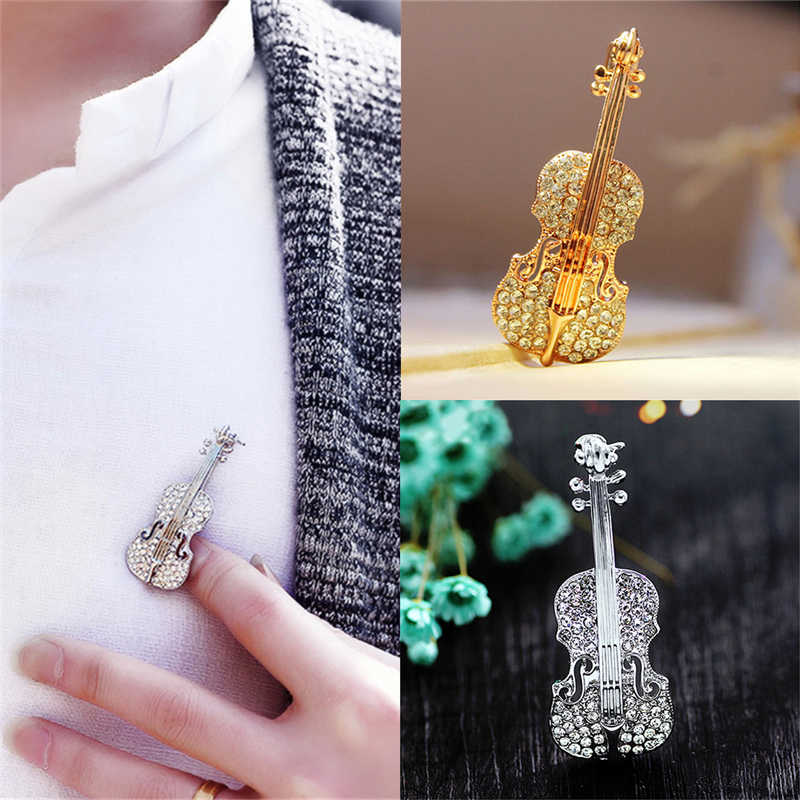 Crystal Violin Brooches Women Personality Rhinestone Brooches Pin Fashion Pins Jewelry Accessories Brooch