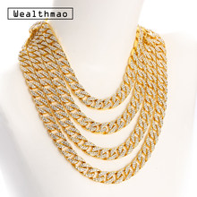 Hip Hop Completa Strass Iced Out Miami Curb Catena Cubana Link Collana In Oro Argento di Colore Bling Collane Lunghe Per Mens gioielli(China)
