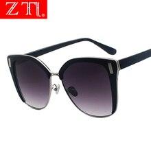 ZT Half Frame Silver Mirror Cateye Sunglasses Women Oversize Clear Lens Eyeglasses Vintage Big Size Gradient Sun Glasses