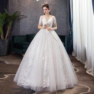 Image 3 - קלאסי שמפניה פשוט יוקרה 2021 חדש חתונת שמלה סקסי אשליה תחרה רקמה בתוספת גודל הכלה שמלת Robe דה Mariee L