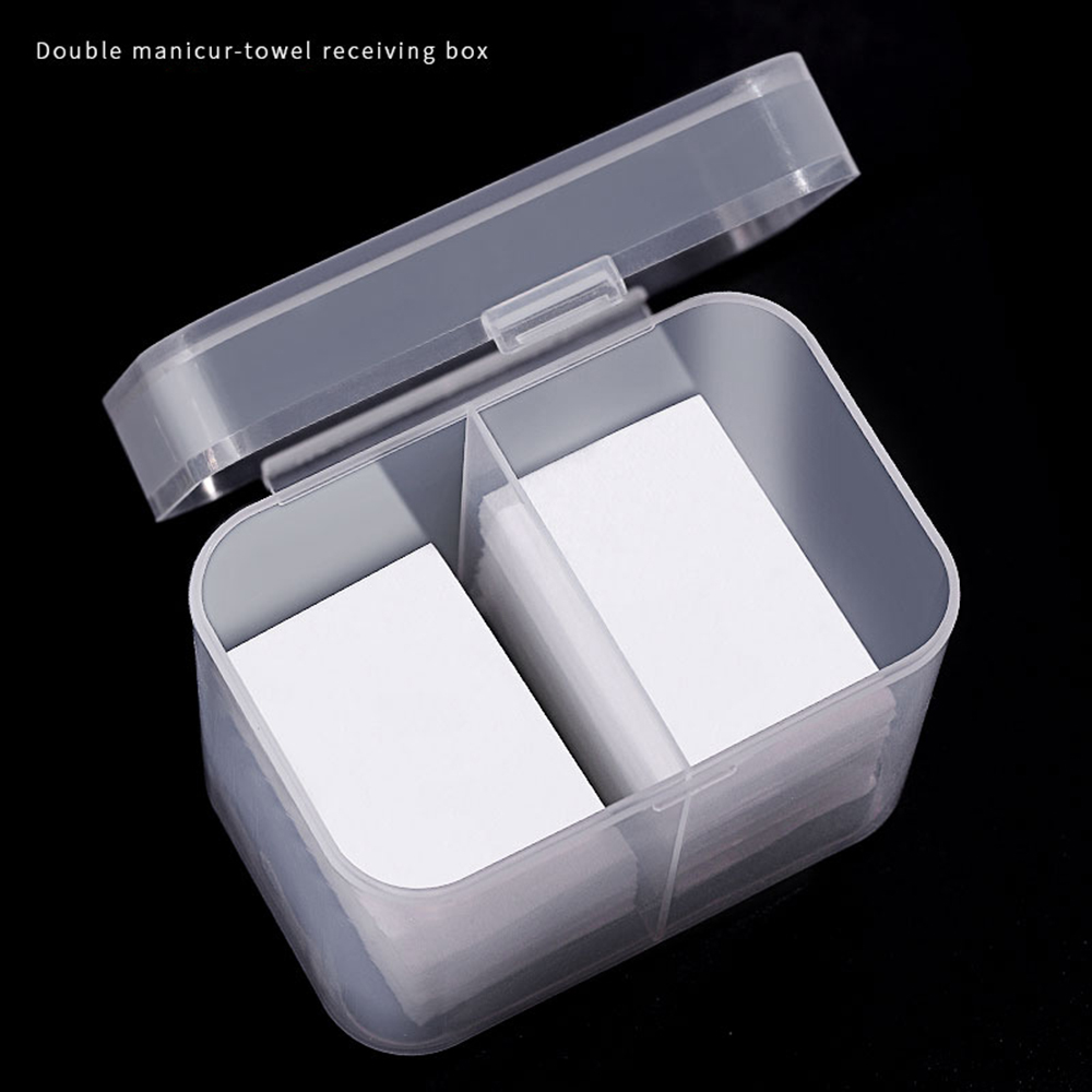 2 Grid Plastic Storage Box With Lid Unloading Cotton Manicure Tool Cosmetic Wash Towel Storage Box Nail Pen Container Organizer