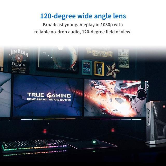 Webcam USB Web Camera Full HD 1080P 30FPS Webcam Web Cam with Microphone Clip-on 1/2.7 CMOS (Sony IMX307) PC Camera 120° Fov 6