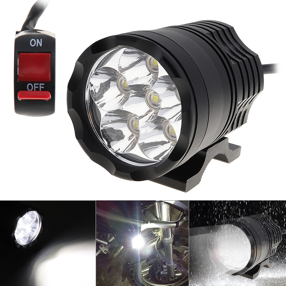 12V 60W 10000LM Motorcycle Headlight High Power Spotlight Motorbike Headlamp Head Light With 6 LED Lamp Beads