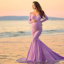 цена Fishtail Evening Dress Maternity Photography Props Pregnancy Dress Photography Maternity Dresses For Photo Shoot Maxi Vestidos онлайн в 2017 году